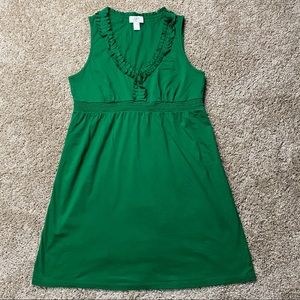 Ann Taylor LOFT Petite Green Ruffle Dress LP